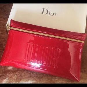DIOR RED LOGO GOLD STAR CHARM MAKEUP BAG CLUTCH